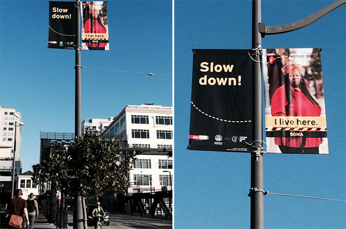 New pedestrian safety banners in SoMa (Source: Davi Lang, Twitter)